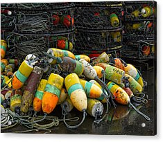 Buoys And Crabpots On The Oregon Coast Acrylic Print by Carol Leigh