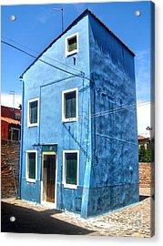 Burano Island - Strange Blue House Acrylic Print by Gregory Dyer