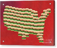 Burger Town Usa Map Red Acrylic Print by Andee Design
