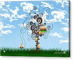 Burger Tree House And The Cupcake Kids  Acrylic Print by Andee Design