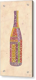 Burgundy Wine Word Bottle Acrylic Print by Mitch Frey