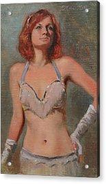Burlesque Dancer Acrylic Print by Anna Rose Bain
