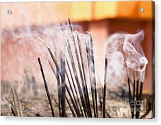 Burning Incense Acrylic Print by Inti St. Clair