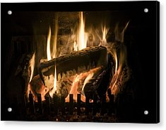 Burning Wood On An Open Fire Acrylic Print by Sheila Terry