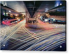 Busy Light Trail In City At Night Acrylic Print by Yiu Yu Hoi