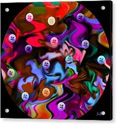 Button Moon Acrylic Print by Jan Steadman-Jackson