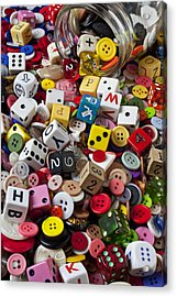 Buttons And Dice Acrylic Print by Garry Gay