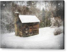Cabin In The Fog Acrylic Print by Christine Annas