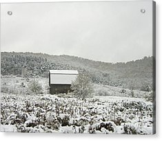 Cabin In The Snow Acrylic Print by Michael Waters
