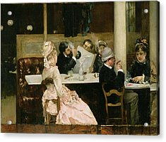 Cafe Scene In Paris Acrylic Print by Henri Gervex