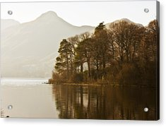 Calm Water With Mountains And Trees Acrylic Print by John Short