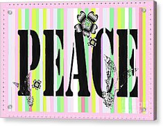 Candy Stripe Peace Juvenile Licensing Acrylic Print by Anahi DeCandy