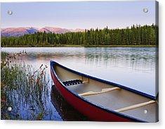 Canoe And Boya Lake At Sunset, Boya Acrylic Print by Yves Marcoux