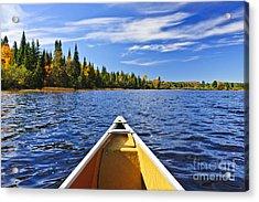 Canoe Bow On Lake Acrylic Print by Elena Elisseeva