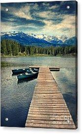 Canoes At Dock On Mountain Lake Acrylic Print by Jill Battaglia