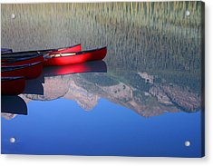 Canoes In The Rockies Acrylic Print by Steve Parr