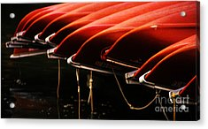 Canoes Of Red Acrylic Print by Bob Christopher