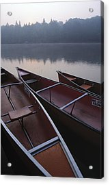Canoes On Still Water Acrylic Print by Natural Selection John Reddy