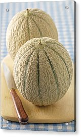 Cantaloupes On Cutting Board Acrylic Print by Jean-Christophe Riou