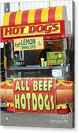 Carnival Festival Fair All Beef Hotdogs Food Stand Acrylic Print by Kathy Fornal