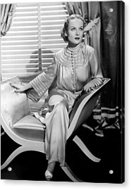 Carole Lombard, Sitting, In A 1930s Acrylic Print by Everett