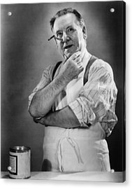 Carpenter Posing In Studio, (b&w) Acrylic Print by George Marks