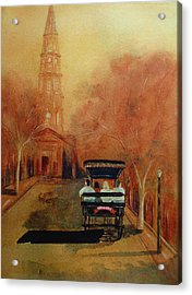 Carriage Ride On Church St In Charleston Sc Acrylic Print by Rosie Phillips