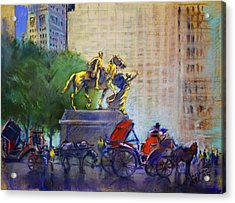Carriage Rides In Nyc Acrylic Print by Ylli Haruni