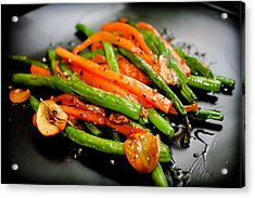 Carrot And Green Beans Stir Fry Acrylic Print by Iris Filson