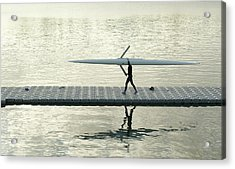 Carrying Single Scull Acrylic Print by Lynn Koenig
