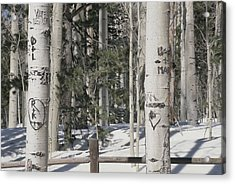 Carved Initials In The Acrylic Print by Stacy Gold