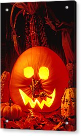 Carved Pumpkin With Fall Leaves Acrylic Print by Garry Gay