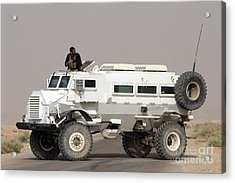 Casper Armored Vehicle Blocks The Road Acrylic Print by Terry Moore