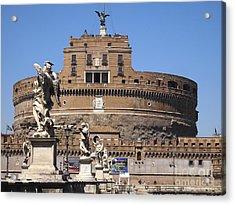 Castel Saint Angelo On The River Tiber. Rome Acrylic Print by Bernard Jaubert