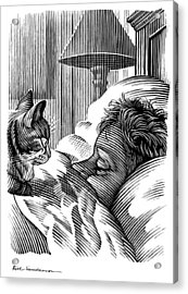 Cat Watching Sleeping Man, Artwork Acrylic Print by Bill Sanderson
