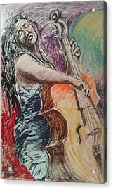 Cellist Acrylic Print by Joemar Sanchez