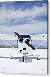 Cessna Aircraft On Bonneville Salt Flats Acrylic Print by Paul Edmondson