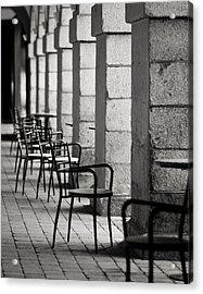 Chairs And Pillars  Acrylic Print by Marcio Faustino