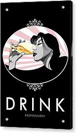 Champagne Drinking Woman Propaganda Style Acrylic Print by Jay Reed