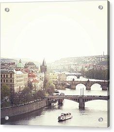 Charles Bridge Crossing Vltava River Acrylic Print by Image - Natasha Maiolo