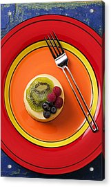 Cheesecake On Plate Acrylic Print by Garry Gay