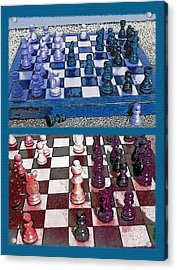Chess Board - Game In Progress Diptych Acrylic Print by Steve Ohlsen