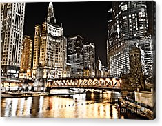 Chicago City At Night Acrylic Print by Paul Velgos