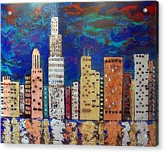 Chicago Metallic Skyline Reflections Acrylic Print by Char Swift