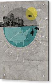 Chicago Poster Acrylic Print by Naxart Studio
