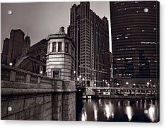 Chicago River Bridgehouse Acrylic Print by Steve Gadomski