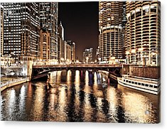 Chicago Skyline At State Street Bridge Acrylic Print by Paul Velgos