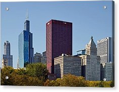 Chicago Skyline From Millenium Park Acrylic Print by Christine Till