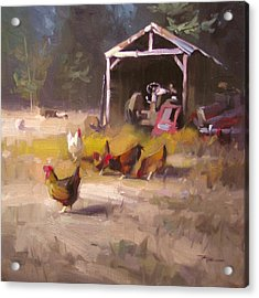 Chickens In Paradise Acrylic Print by Richard Robinson