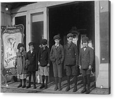 Children At A Penny Arcade, Original Acrylic Print by Everett
